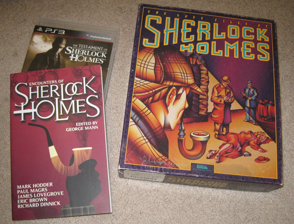 Sherlock Holmes book and two video games