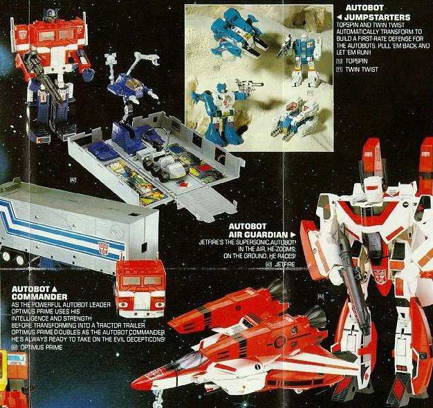 Section of Transformers toy catalog from 1985