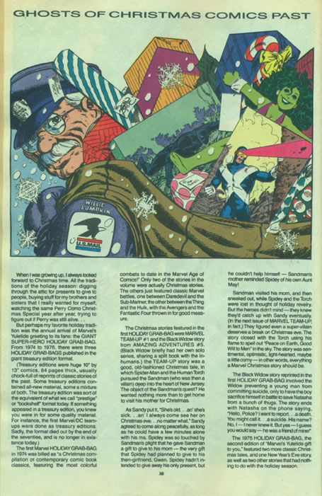 Text article from 1991 Marvel Holiday Special