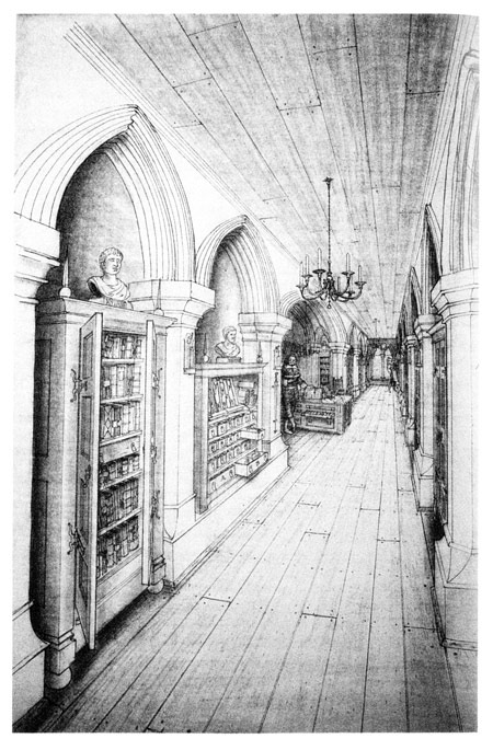 Artist's rendering of Cotton's library