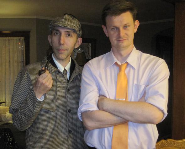 Me dressed as Sherlock Holmes, next to Tristan Rader